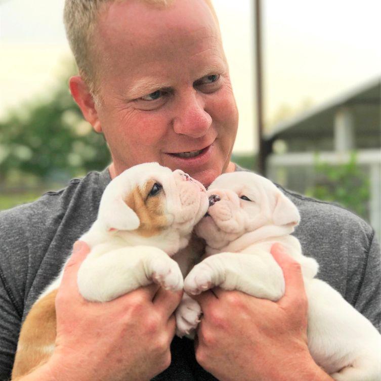 Frank Mineo Jr. Cuddles with English Bulldog Puppies