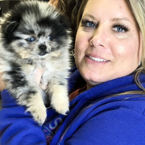 Puppies 'N Love's Michelle L. with Pomeranian puppy