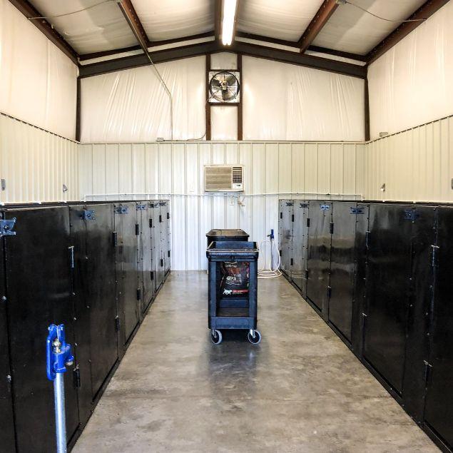 Interior of indoor/outdoor kennels