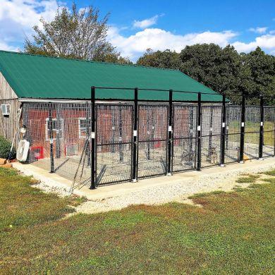 Exterior of indoor/outdoor kennels