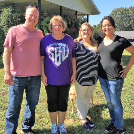 Puppies 'N Love & Animal Kingdom owner Frank Mineo Jr., Animal Health Director Michelle L. and store owner Loni T. with Susie on 2016 breeder trip to Missouri