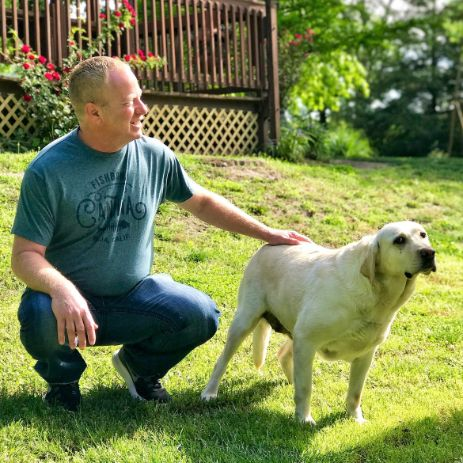 Frank Mineo Jr. With Vicki\'s Adult Dogs