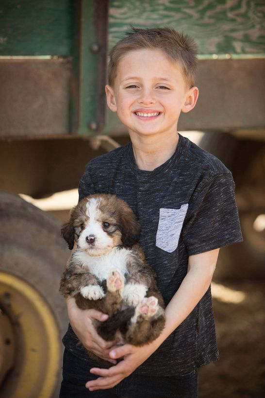 One of  Megan's kids holding a puppy