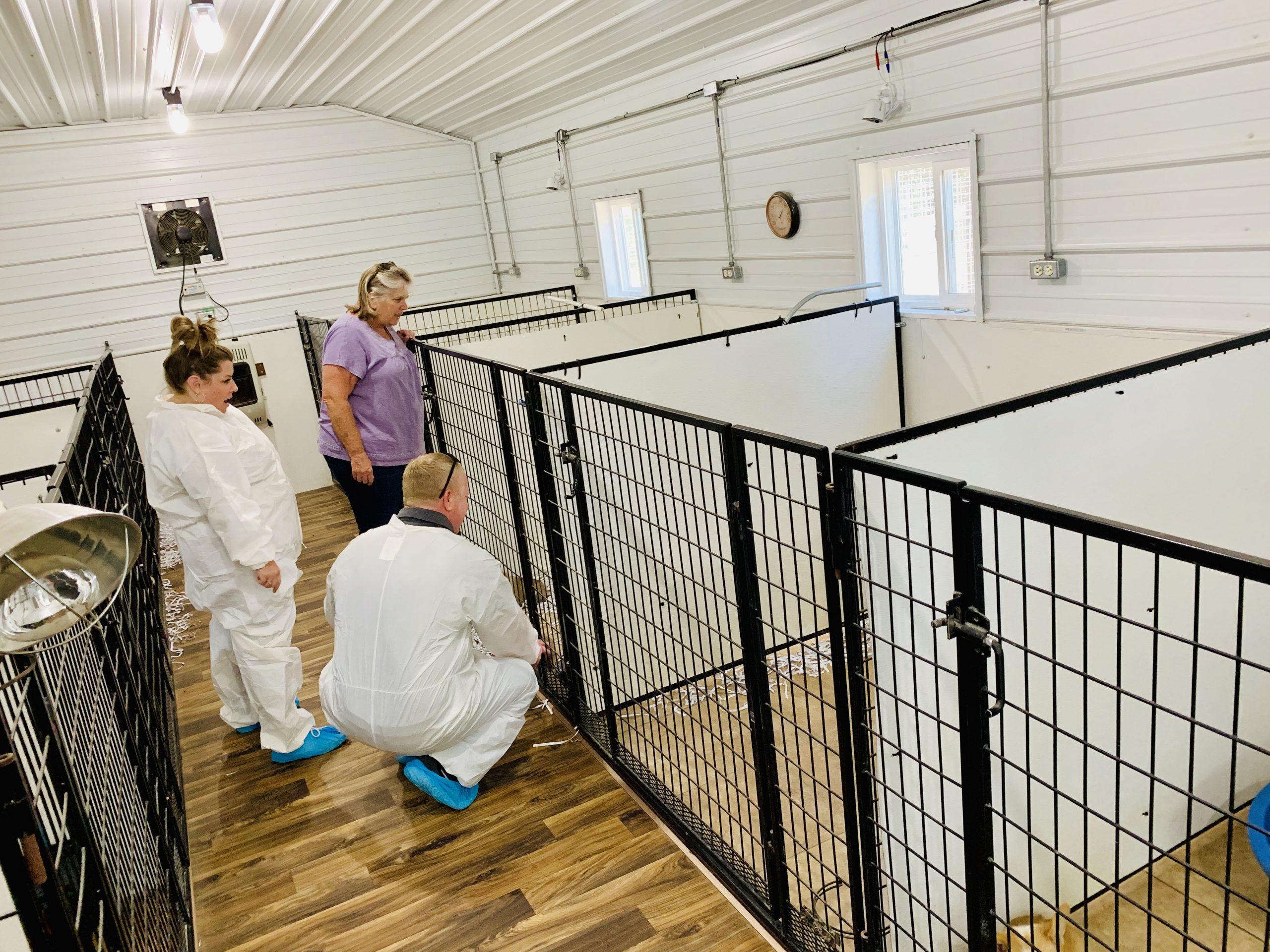 Frank Mineo Jr inspecting Nancy's kennel