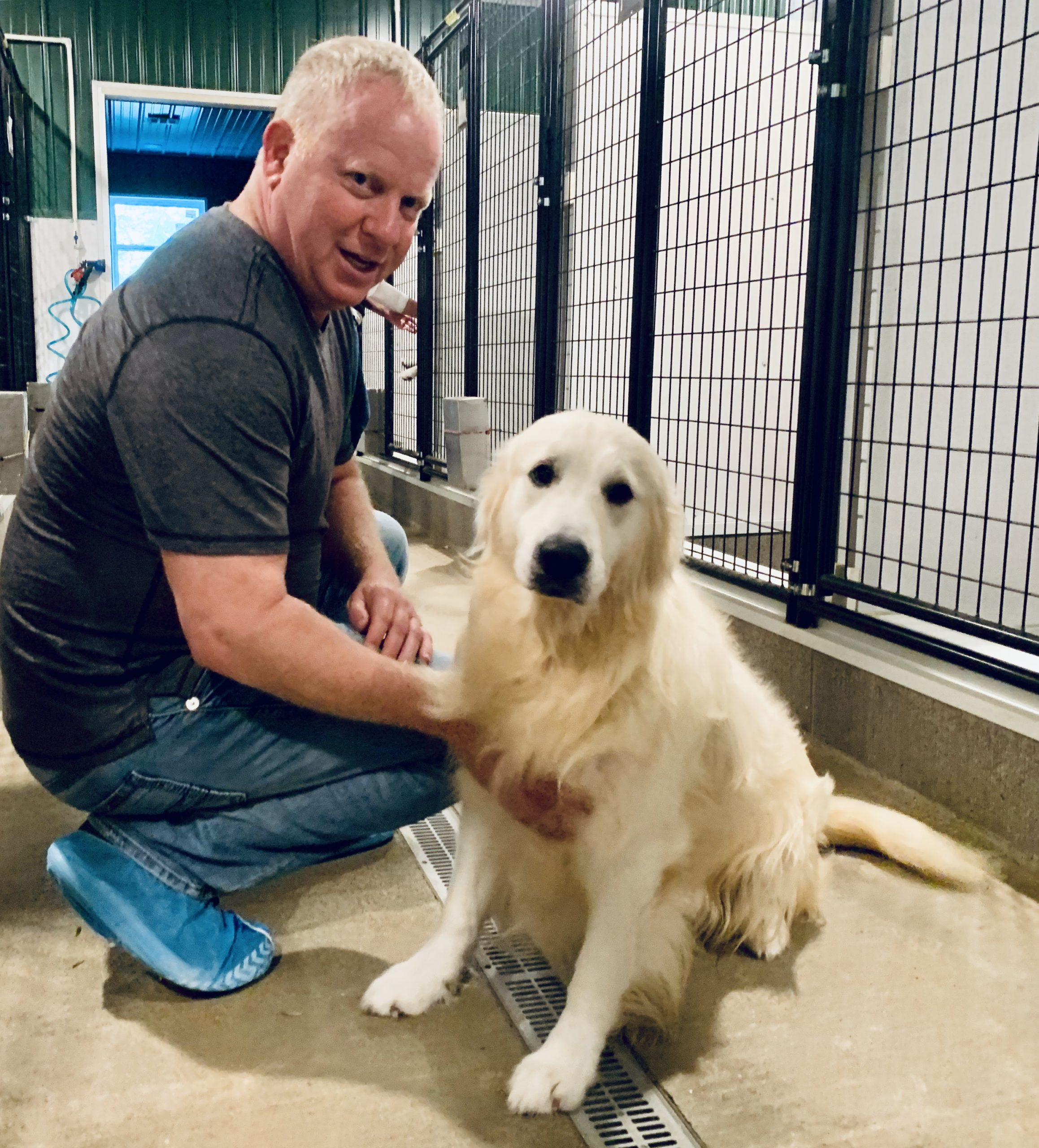 Frank Mineo Jr. with Golden dog