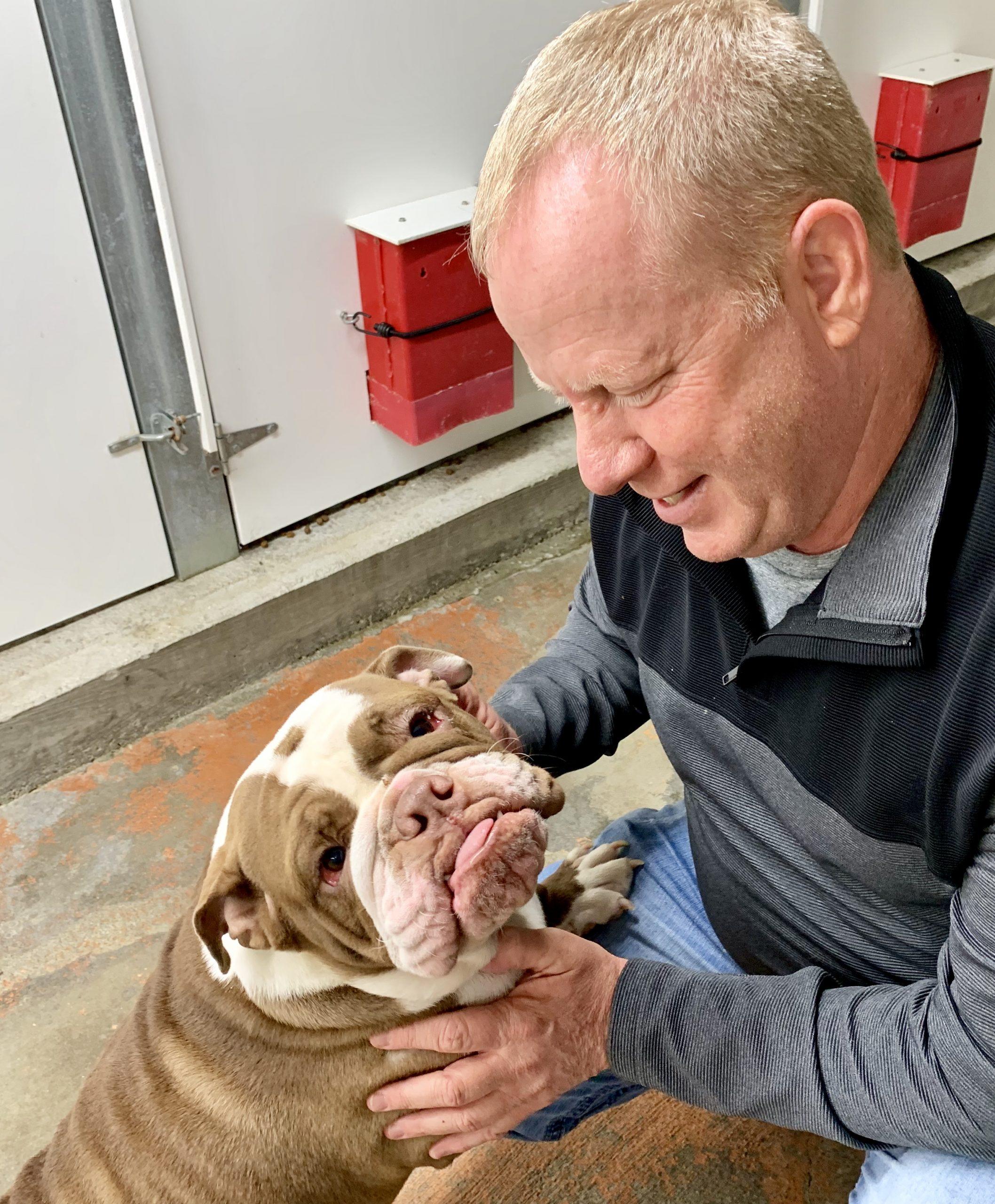 Frank Mineo Jr. visiting bulldog