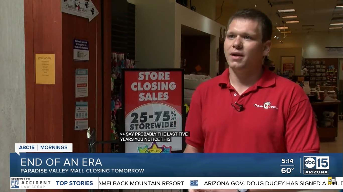 Paradise Valley Mall closing for good, Puppies 'N Love one of the last to remain Puppies Animal Kingdom Arizona
